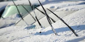 Raised Windshield Wipers in Winter in Edmonton